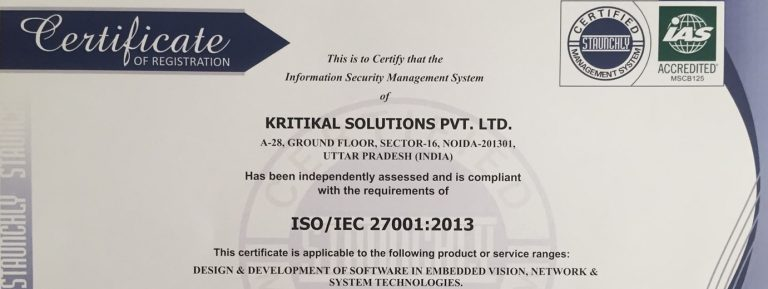 KritiKal Solutions receives ISO 27001 Certification